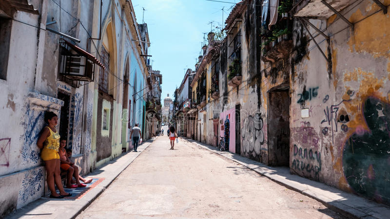 Havana Streets Perspective Cuba royaltyfri bild