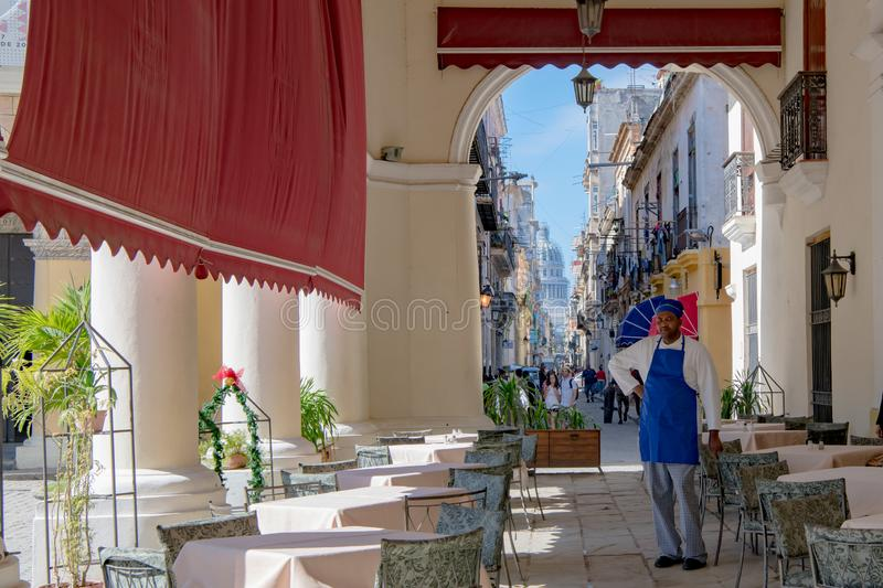 Havana, view from Café to small street and Capitolio in Havana, Cuba stock photo