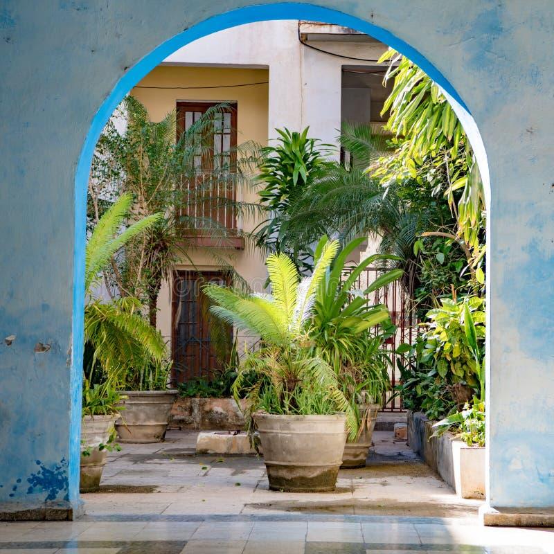Havanna, Ansicht durch Bogen zu gegrüntem innerem Gericht des Hauses, Havana, Kuba stockfoto