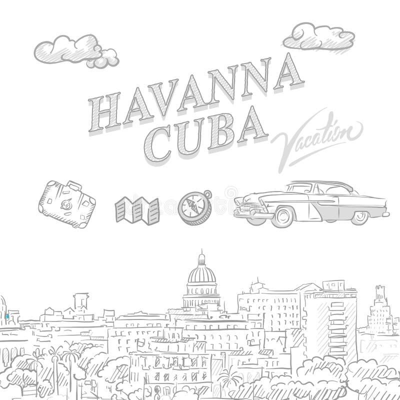 Havanna, Cuba, couverture de vente de voyage illustration libre de droits
