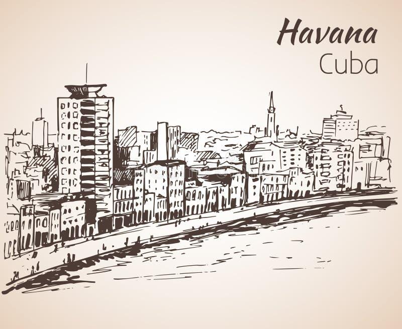 Havannacigarren skissar cuba royaltyfri illustrationer