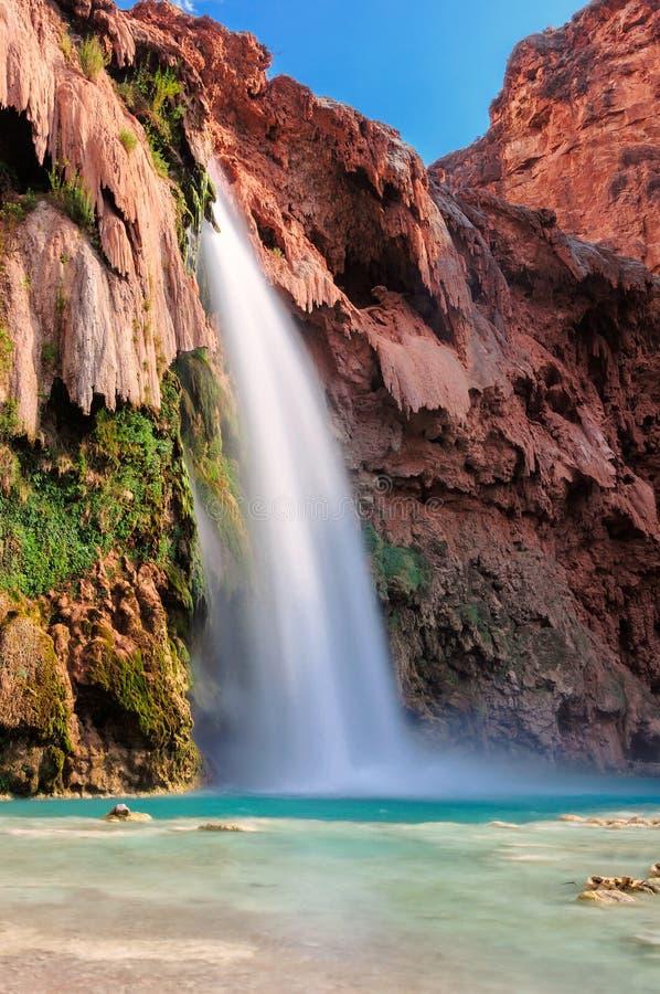 Havasu faller, vattenfall i Grand Canyon, Arizona fotografering för bildbyråer