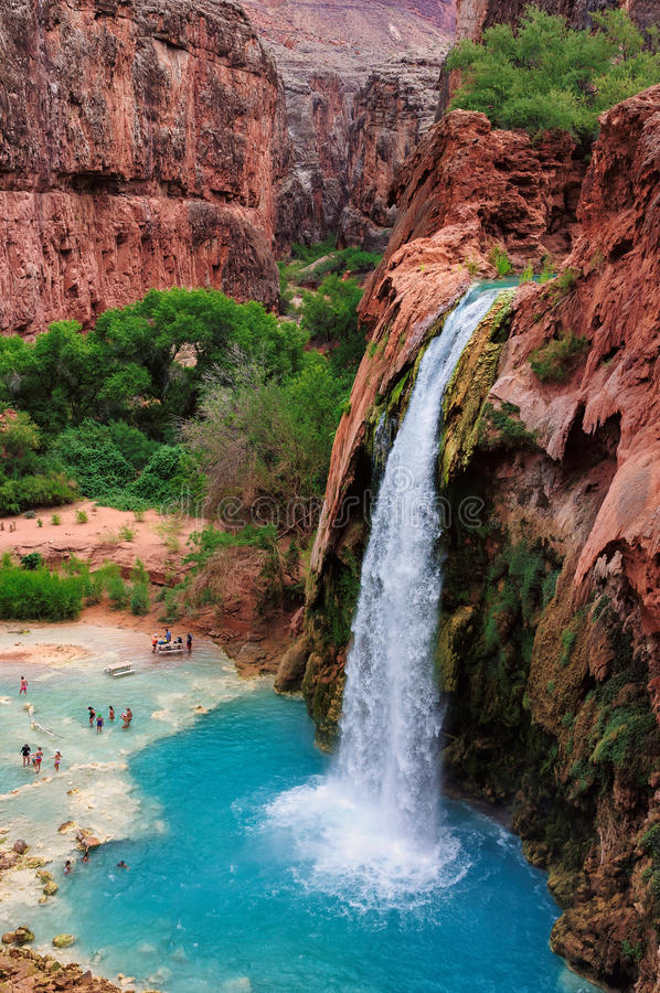 The Havasu Falls in the Havasupai Indian Reservation - Grand Canyon. Oasis in the Grand Canyon, Havasu Falls, Havasupai Indian Reservation, Arizona royalty free stock photo