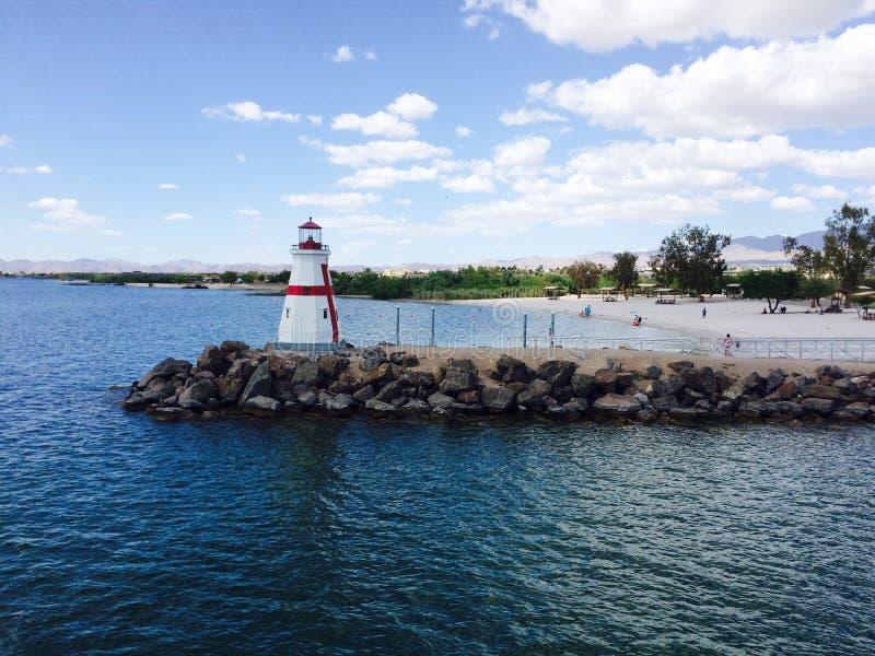 Havasu lighthouse on the lake royalty free stock photos
