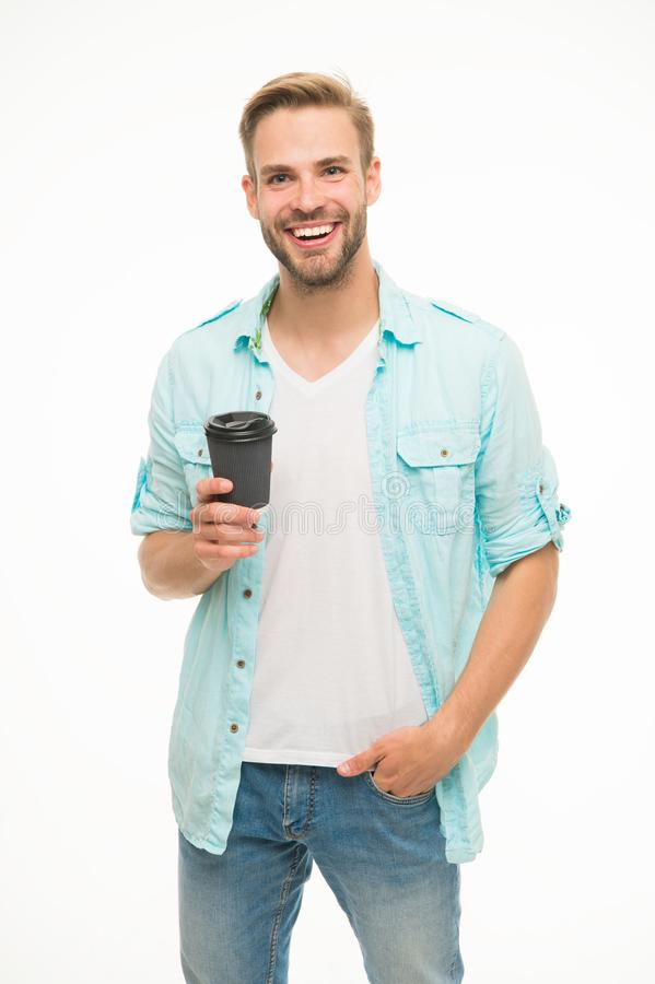Have coffee for good mood. Recyclable coffee cup. Hipster man hold paper coffee cup. Relaxing break. Drink it on the go stock images