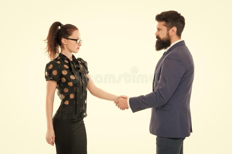 We have a deal. partnership in business. man and woman shaking hands. bearded man and sexy woman. Business couple. We have a deal. partnership in business. men royalty free stock images