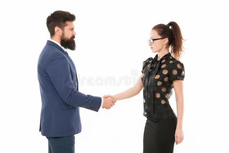 We have a deal. partnership in business. man and woman shaking hands. bearded man and woman. Business couple. We have a deal. partnership in business. men and royalty free stock image