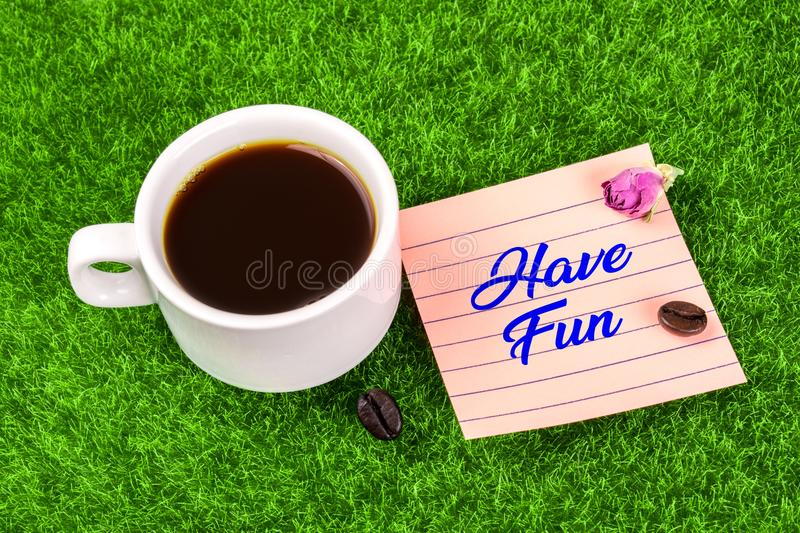 Have fun with coffee stock image