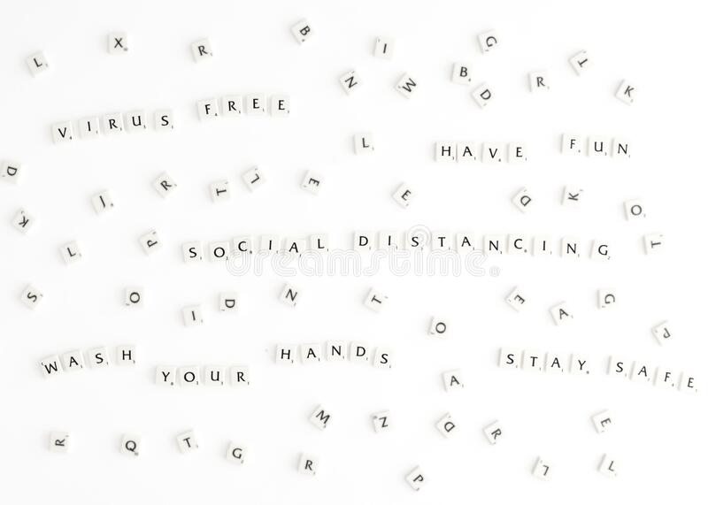 Have fun at home - Social distancing in scrabble letters. Anti-Corona messages Social distancing written with scrabble letters. Have fun at home, virus free stock photos