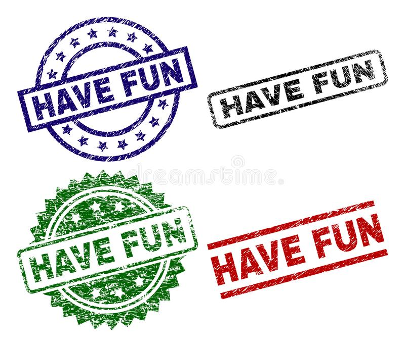 Grunge Textured HAVE FUN Stamp Seals. HAVE FUN seal prints with damaged style. Black, green,red,blue vector rubber prints of HAVE FUN label with scratched style royalty free illustration