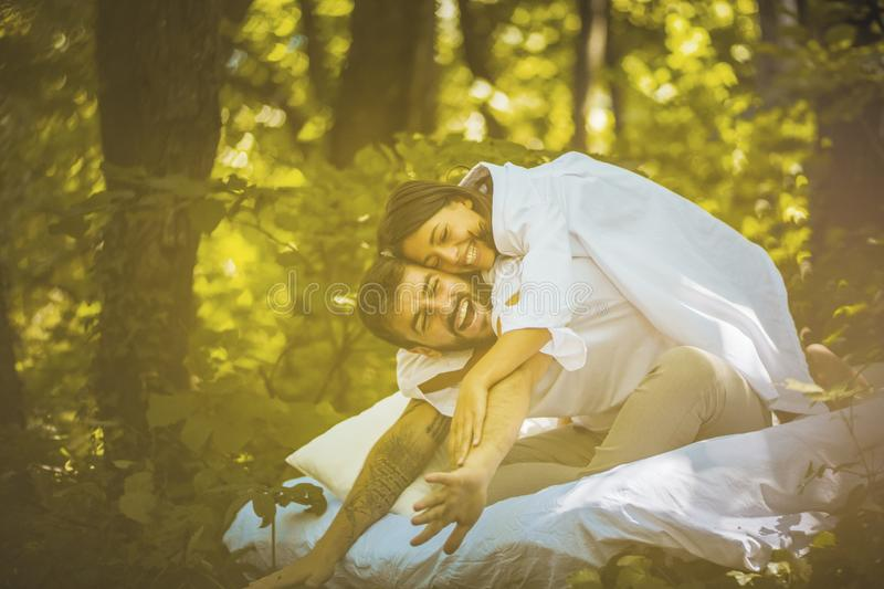 Have fun with your love in nature. Morning like this. royalty free stock image