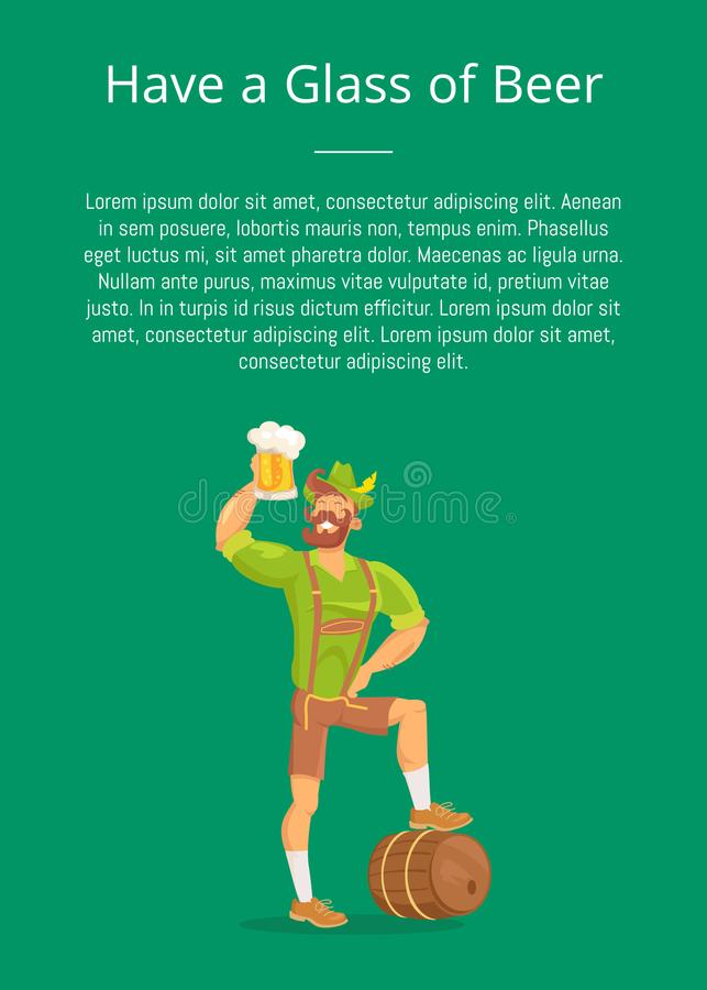 Have Glass of Beer Poster with Man Drinking, Text vector illustration