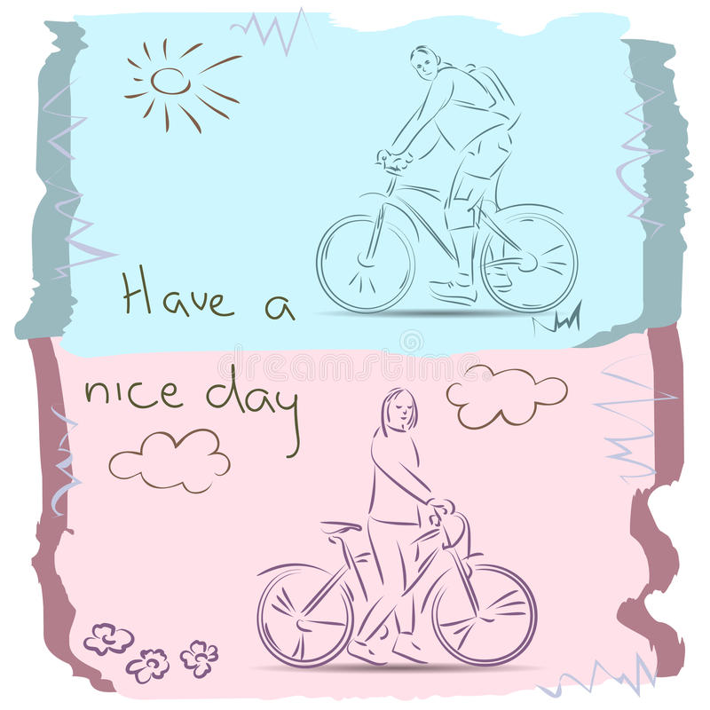 Have a Good Day on Bike. Sketch. Sketch a girl and a boy on bicycle stock illustration