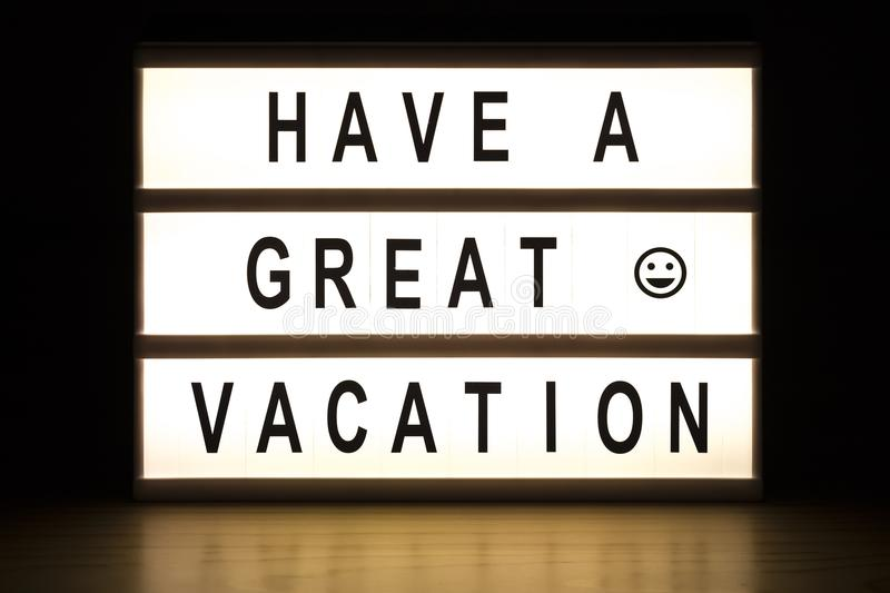 Download Have A Great Vacation Light Box Sign Board Stock Image