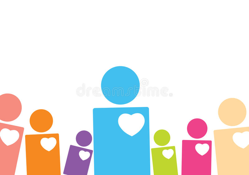 Have a heart. Shapes of people in different color and scale with their heart showing to give the message of being compassionate and carrying person vector illustration