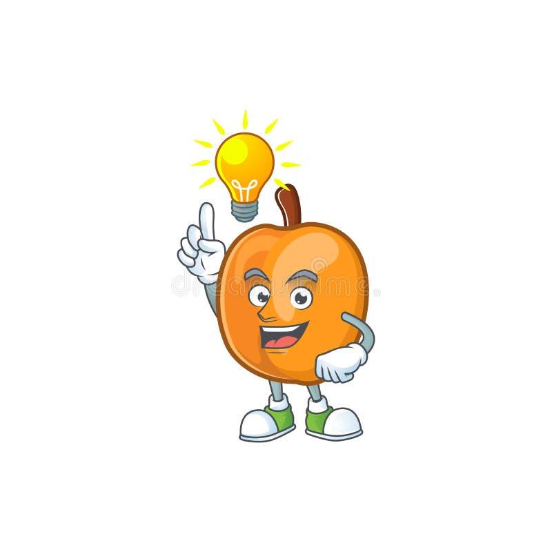 Have an idea apricot fruit in the cartoon shape. Vector illustration stock illustration