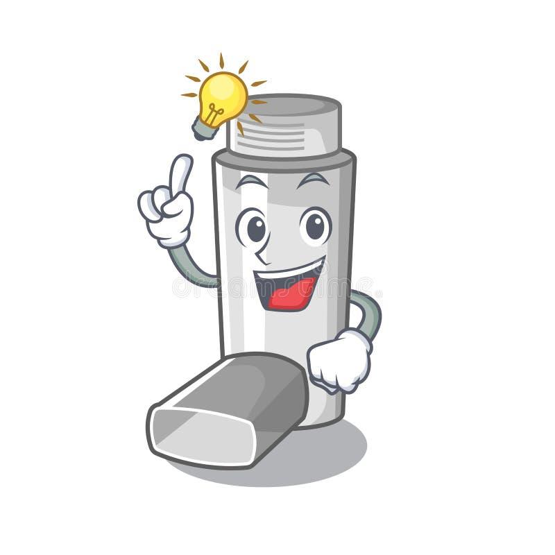 Have an idea asthma inhaler in the character bag. Vector illustration vector illustration