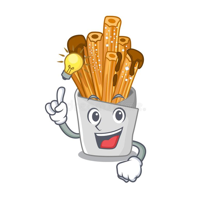 Have an idea churros in the wooden character jar. Vector illustration royalty free illustration