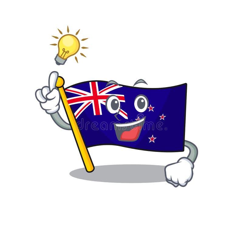 Have an idea flag new zealand in cartoon drawer. Vector illustration vector illustration