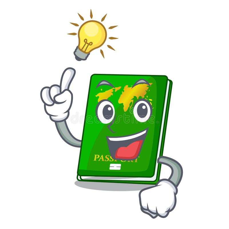 Have an idea green passport on the mascot table. Vector illustration vector illustration