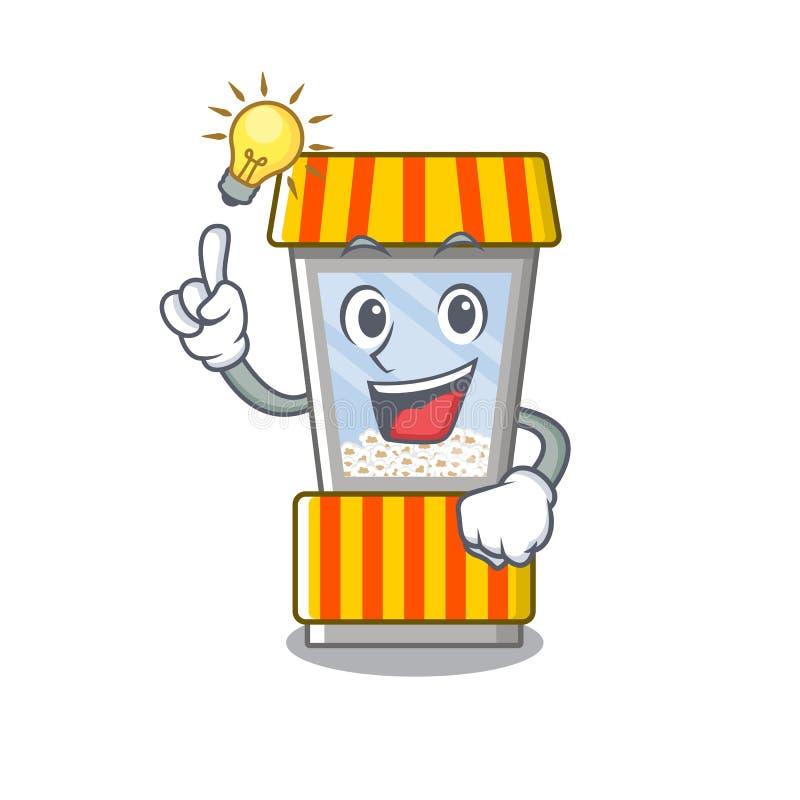 Have an idea popcorn vending machine in mascot shape. Vector illustration royalty free illustration