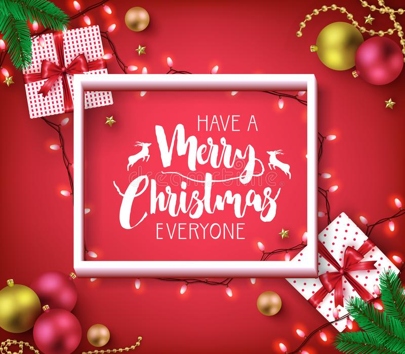 Have A Merry Christmas Everyone Greeting Typography Poster Inside. Of 3D Frame on Red Vignette Background with Christmas Lights, Balls and Gifts for Holiday royalty free illustration