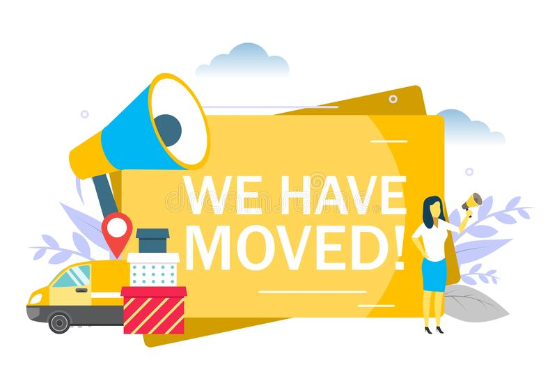 We have moved announcement, vector flat illustration stock illustration
