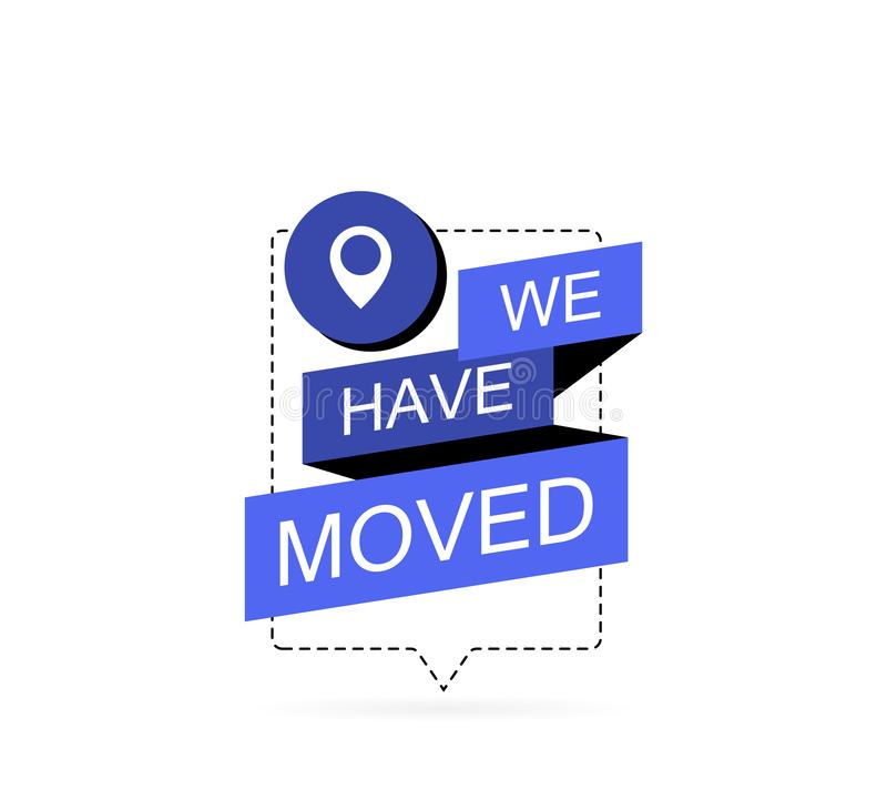 We have moved, icon with map pin. Modern flat vector illustration stock illustration