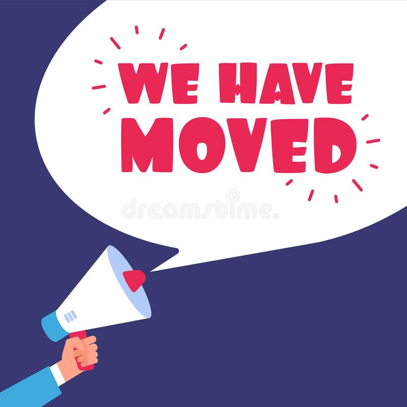 We have moved. Moving in new office. Business vector concept with megaphone vector illustration