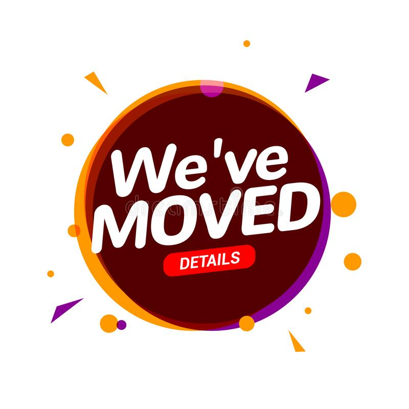We have moved new office address icon location. Move change location announcement speaker concept vector illustration