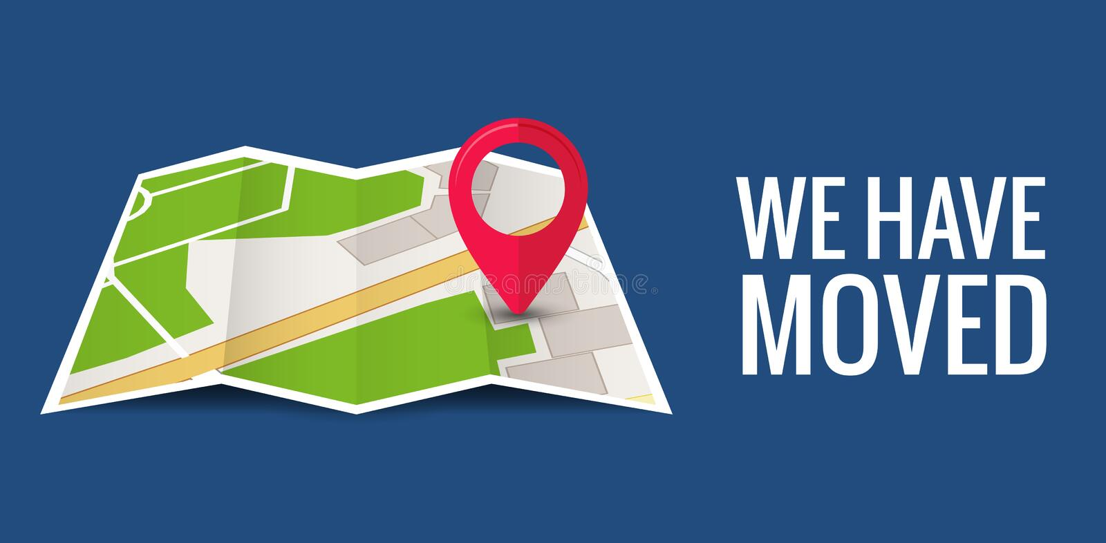 We have moved new office icon location. Address move change location announcement business home map royalty free illustration