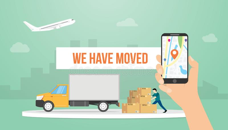 We have moved text banner title with hand holding smartphone and truck with modern flat style - vector stock illustration