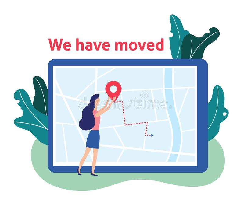 We have moved. Women and label on map. New address. Vector stock illustration