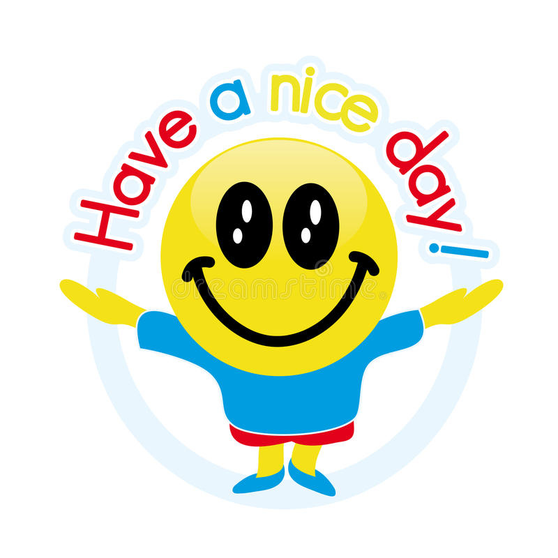 Have a nice day!. Cute emoticon mascot wishes a nice day royalty free illustration