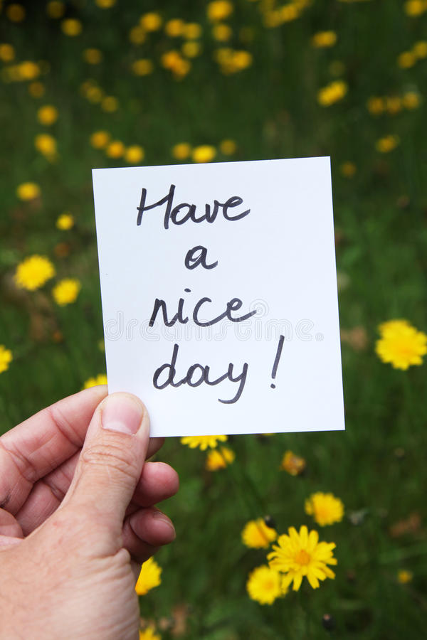 Have a nice day. Being polite and wishing someone a nice and colorful day stock image