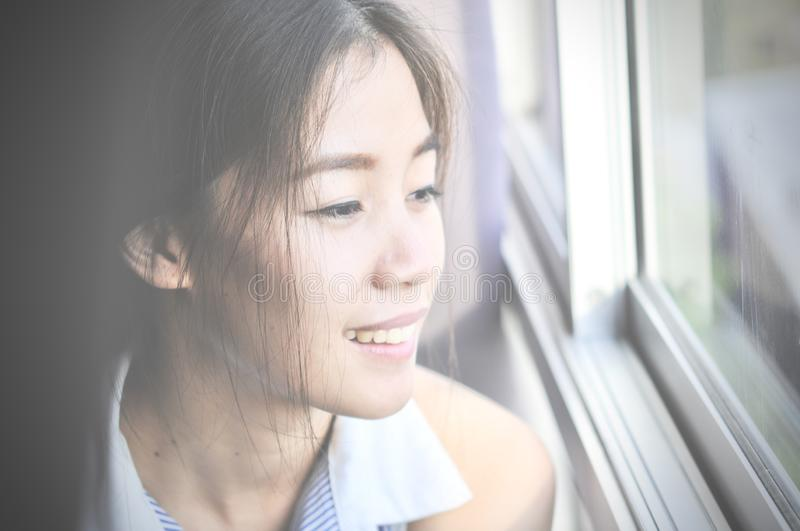 Have a nice day! Close up of Young smart successful smiling woman in the morning and having a happiness stock images