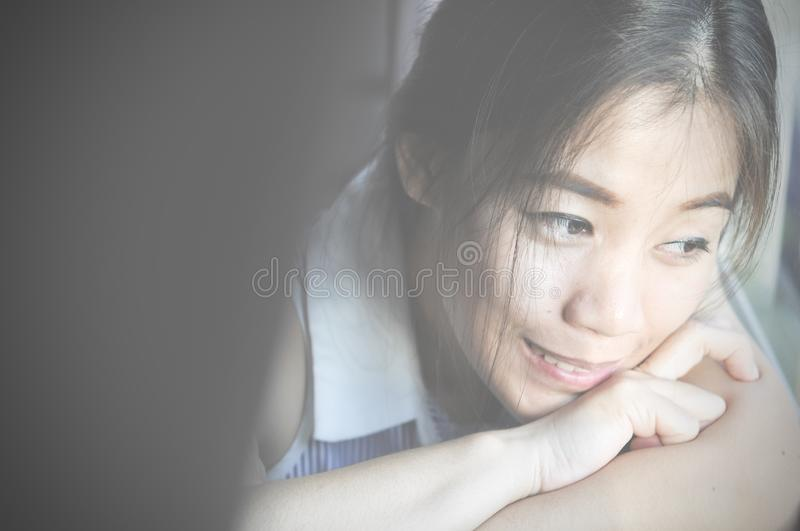 Have a nice day! Close up of Young smart successful smiling woman in the morning and having a happiness royalty free stock photo