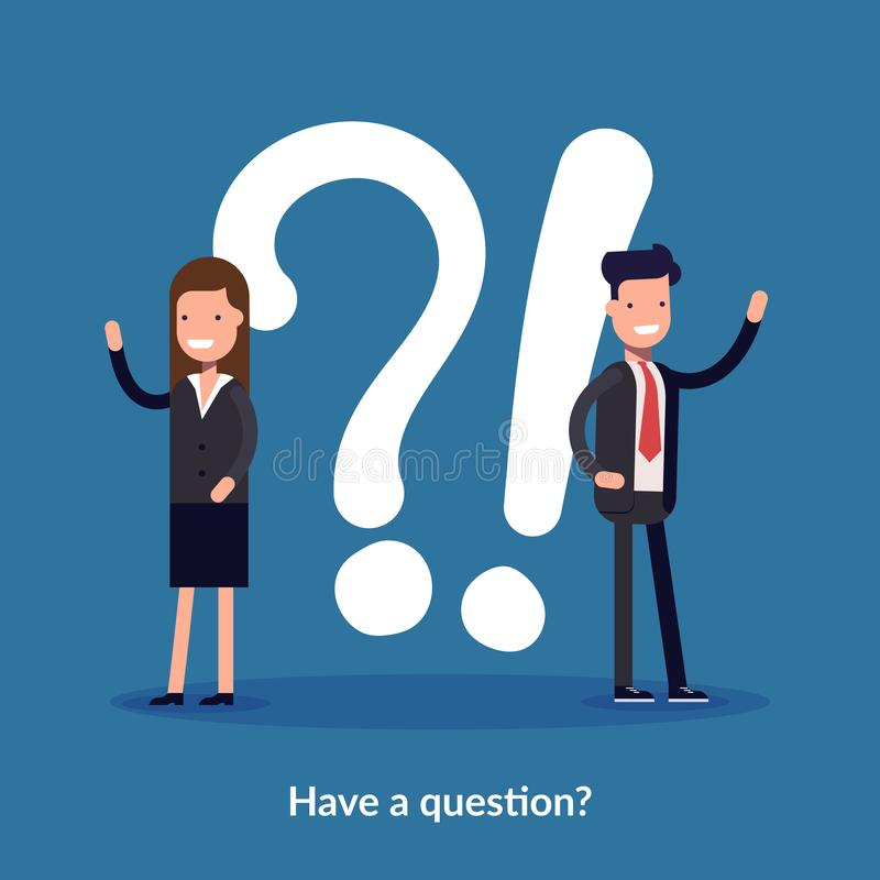 Have a question vector illustration concept. Digital business. People asking to online support center. Can use for royalty free illustration