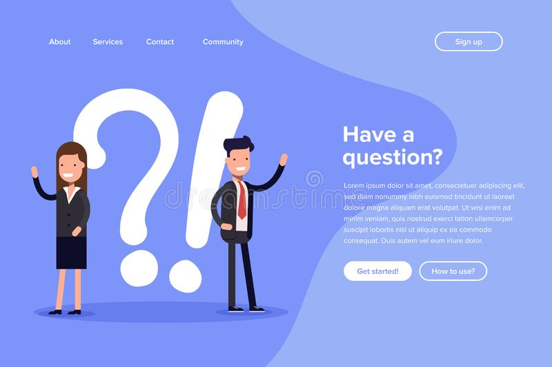 Have a question vector illustration concept. Digital business. People asking to online support center. Can use for vector illustration