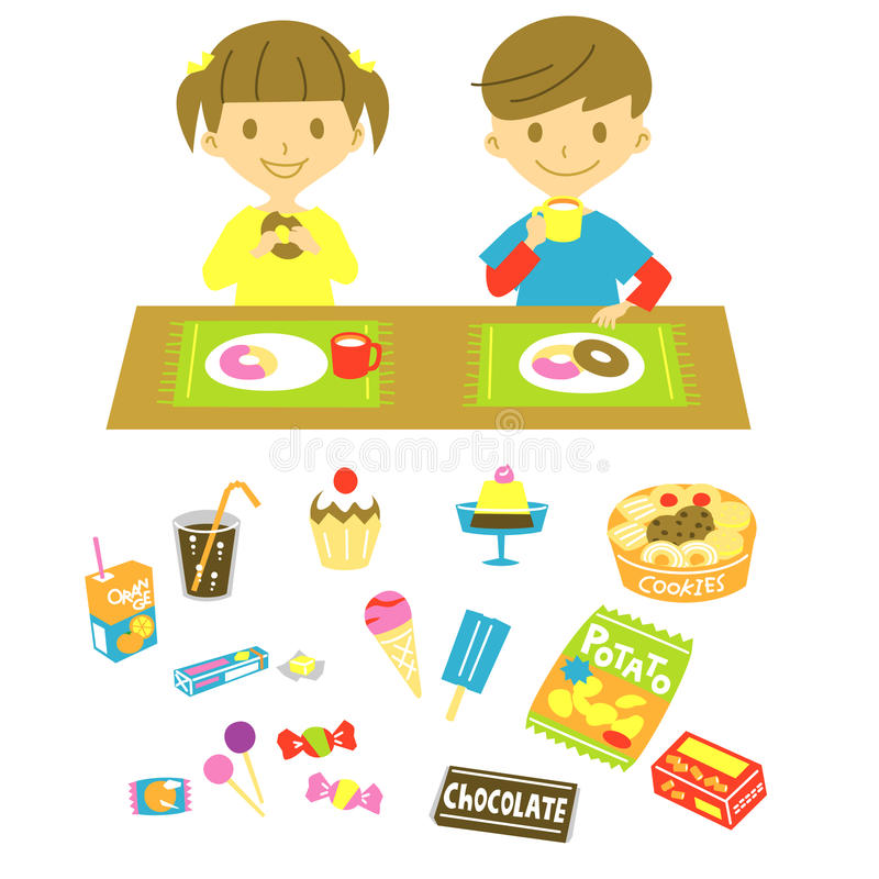 Have a snack. Kids have a snack, on the table, little boy and girl royalty free illustration