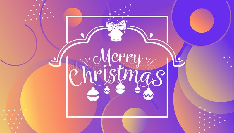 Have very Merry Christmas and Happy New Year we wish you lettering logo on gradient background, Design template with stock illustration