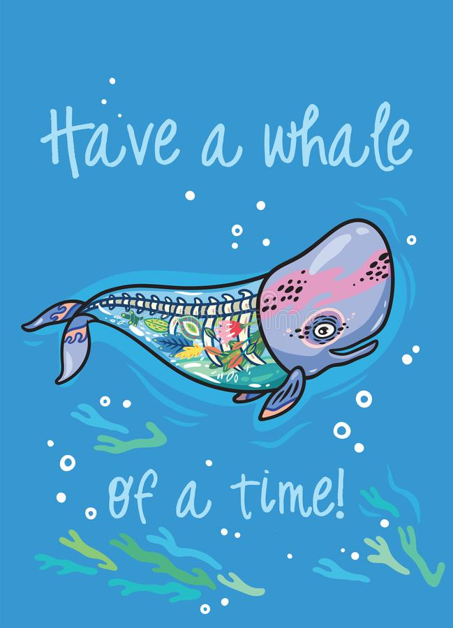 Have A Whale Of A Time. Floral Anatomy Whale In Cartoon Style ...
