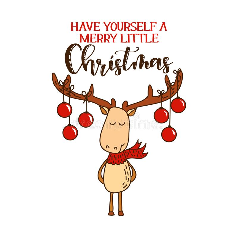 Free Have Yourself A Merry Little Christmas - Cute Deer Royalty Free Stock Images - 163414929