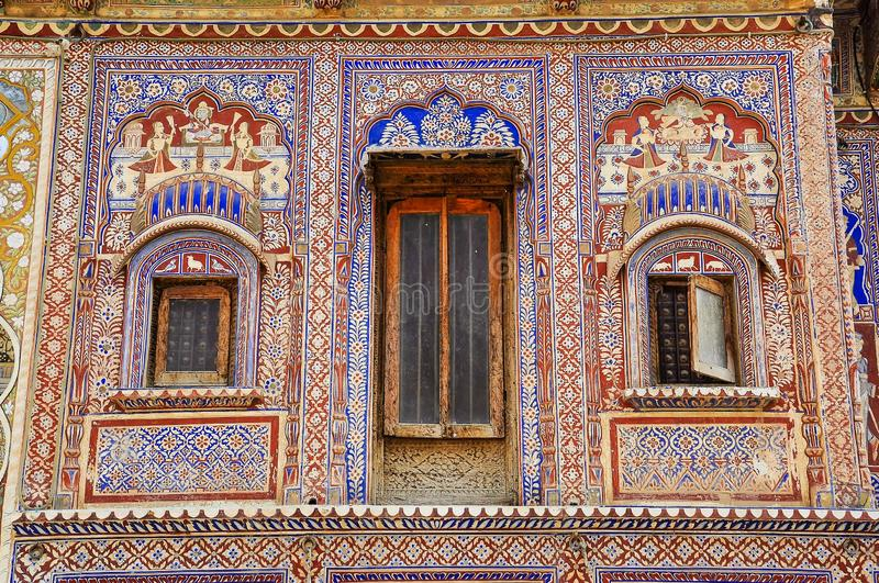 Haveli in Fatehpur, Rajasthan in North India. Haveli in Fatehpur, Rajasthan in India. Haveli are characterized by rich Western-style decorations in Fatehpur royalty free stock photography