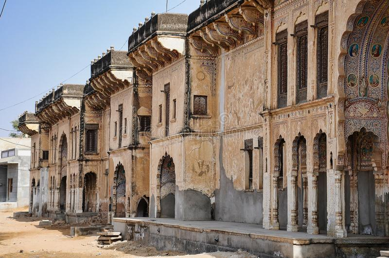 Haveli in Fatehpur, Rajasthan in North India. Haveli in Fatehpur, Rajasthan in India. Haveli are characterized by rich Western-style decorations in Fatehpur stock photo