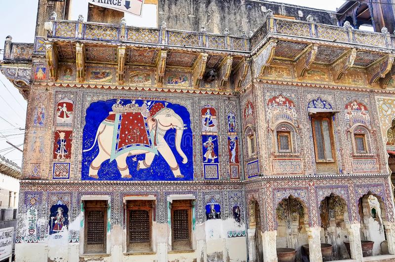 Haveli in Fatehpur, Rajasthan in North India. Haveli in Fatehpur, Rajasthan in India. Haveli are characterized by rich Western-style decorations in Fatehpur royalty free stock photo