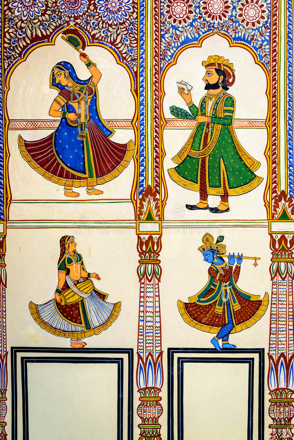 Havelis Frescoed dans Mandawa, traditionnel dans un style très fleuri image stock