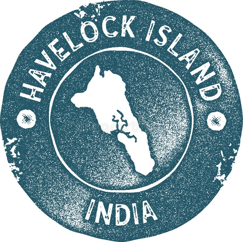 Havelock Island: Havelock Island Map Vintage Stamp. Stock Vector