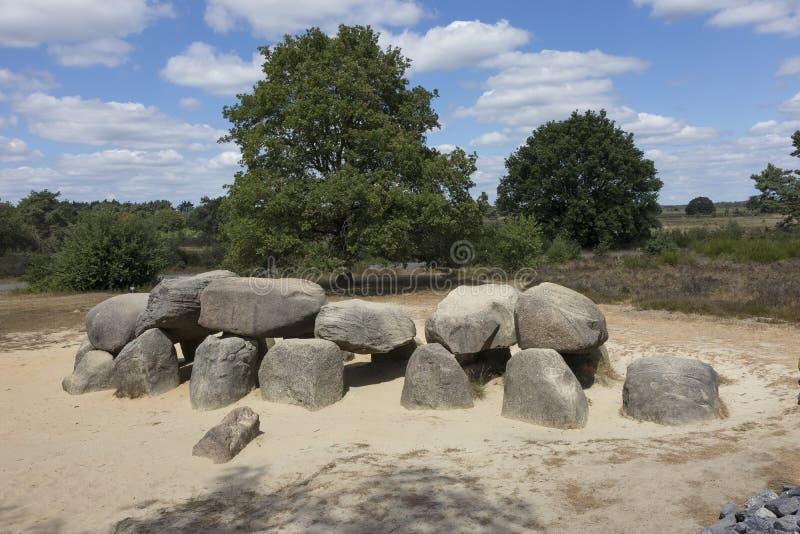 Havelte, Drenthe, Netherlands - July 14, 2018: Old stone grave l. Havelte, Drenthe,Netherlands - July 14, 2018: Old stone grave like a big dolmen in Drenthe royalty free stock photography
