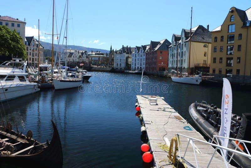 Haven in Alesund Noorwegen royalty-vrije stock fotografie